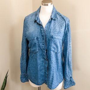 Bella Dahl leopard print denim button up shirt M